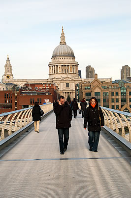 The Millennium Bridge with St. Paul's Cathedral in the background