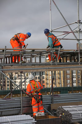 Scaffolding being erected on Southwark Bridge