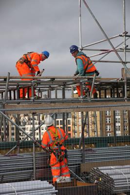 Scaffolding being erected on Southwark Bridge