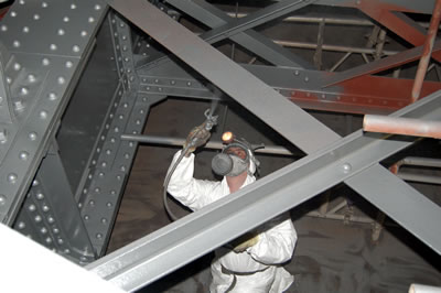 High build Aluminium being applied to the underside of the bridge