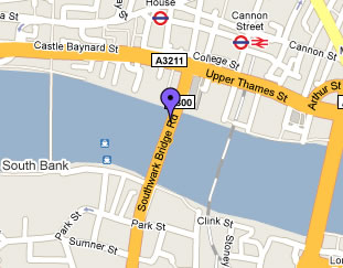 Map of Southwark Bridge