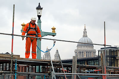 Scaffolder on Southwark Bridge
